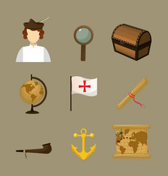 Set columbus day icons vector