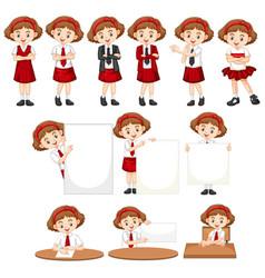 Set girl in school uniform doing different vector