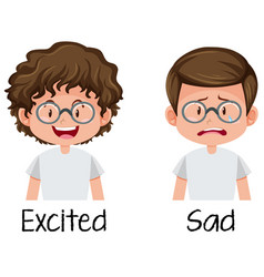 Set of boy excited and sad vector