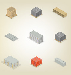 Set of different building materials in 3d vector