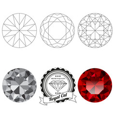 Set of royal cut jewel views vector image