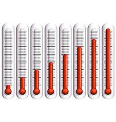 Set of thermometers on white vector image