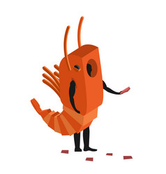 shrimp costume man mascot promoter male in suit vector image