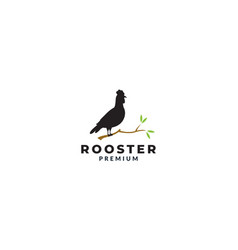 Silhouette rooster with tree logo design vector