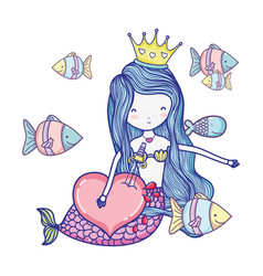 siren woman with crown and exotic fishes vector image