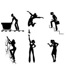 Six businesswomen in action vector
