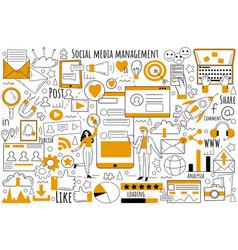 social media management doodle set vector image