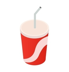 Soda cup isometric 3d icon vector image