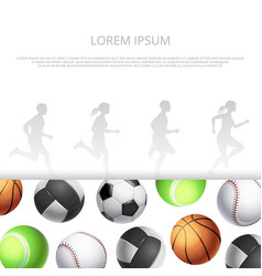 sport fitness banner template witn realistic vector image