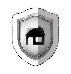 Sticker metallic shield with silhouette house vector