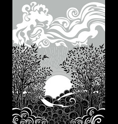 Sunset sea and tree vector