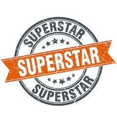 Superstar round orange grungy vintage isolated vector