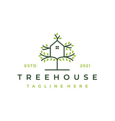 tree and house logo design isolated abstract vector image