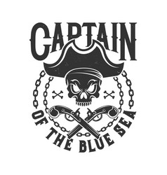tshirt print with pirate skull in tricorn emblem vector image