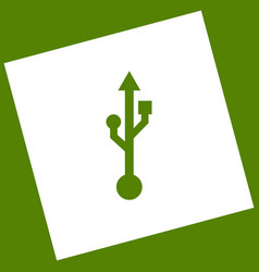 Usb sign white icon obtained vector