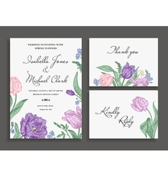 Vintage wedding set with spring flowers vector