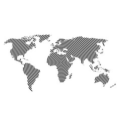 World map of black concentric rings on white vector