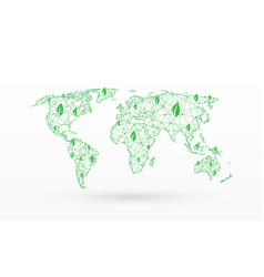 world map with eco green map save world vector image