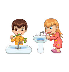 young boy and girl hygiene vector image