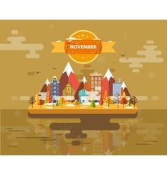 Autumn landscape Small town vector image