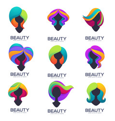 collection of woman head silhouettes with trandy vector image