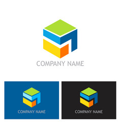 cube 3d technology colored logo vector image