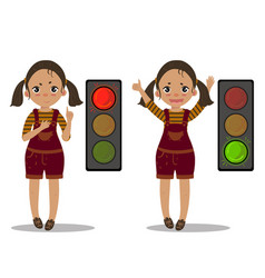 girl explain pedestrian traffic light green red vector image vector image