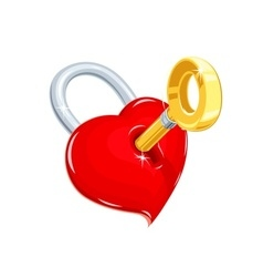 Heart and key Symbol love for vector image