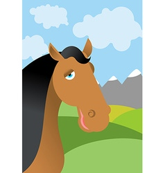 Horse and summer landscape Head animal in nature vector image