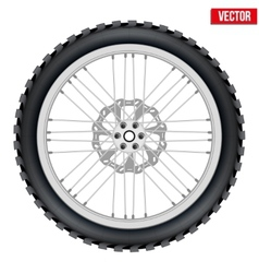 Motorbike enduro wheel with brake rotor and tire vector image
