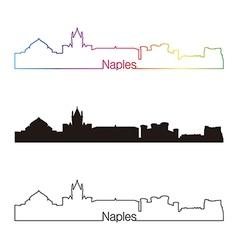 Naples skyline linear style with rainbow vector image