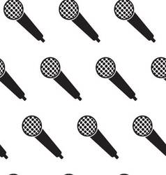 Seamless monochrome pattern vintage microphone vector image