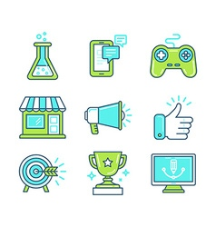 set of linear icons in trendy style vector image