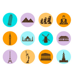 World landmarks flat icons set vector