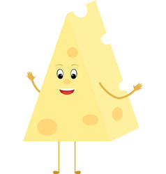 yellow cheese triangle cartoon slice character vector image vector image