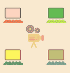 Cinema hall collection in flat vector