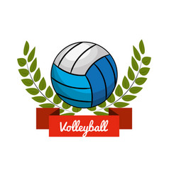 Emblem volleyball game icon vector