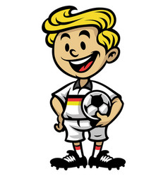 little soccer player posing with the ball vector image vector image