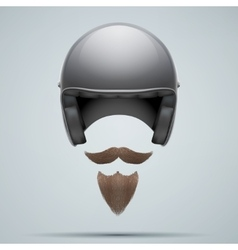 Motorcyclist symbol with mustache and beard vector image vector image