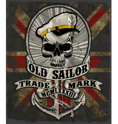 sailor man skull tee graphic design vector image
