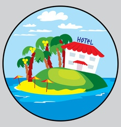 beach hotel emblem vector image vector image