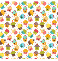 birthday background kawaii cupcakes seamless vector image