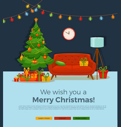 christmas room interior in colorful cartoon flat vector image