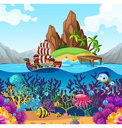 Scene with pirate ship in the ocean vector image vector image