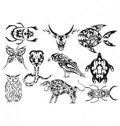 set of tribal animal tattoos vector image vector image