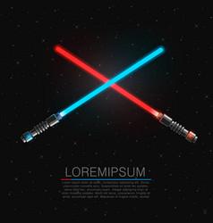 two crossing futuristic light swords vector image