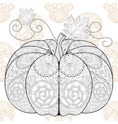 Zentangle stylized Pumkin on Skull seamless vector image vector image