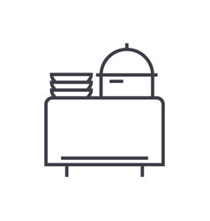 buffet in restaurant line icon sign vector image
