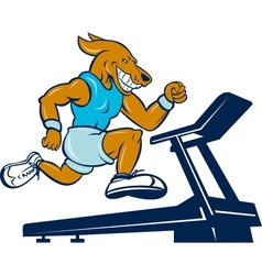 Dog running on tread mill isolated vector image vector image