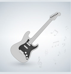 electric guitar with music notes on the vector image